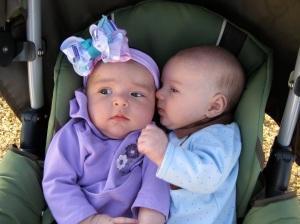 My son whispering in Zoe's ear!